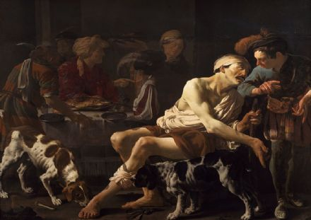 Brugghen, Hendrick Ter: The Rich Man and the Poor Lazarus. Fine Art Print/Poster. Sizes: A4/A3/A2/A1 (002151)